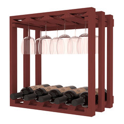 Wine Storage Lattice Stemware Cube in Pine with Cherry Stain - Designed to stack one on top of the other for space-saving wine storage our stacking cubes are ideal for an expanding collection. Use as a stand alone rack in your kitchen or living space or pair with the 20 Bottle X-Cube Wine Rack and/or the 16-Bottle Cubicle Rack for flexible storage.