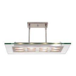 Access Lighting - Access Lighting 50108-BS/CLR  Adjustable Glass & Metal Pendant - Adjustable Glass & Metal Pendant