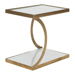 Safavieh - Deltana Accent Table - The Deltana Accent Table brings enchanting elegance to any decorating theme. Its lustrous gold-finished iron base is complemented with two levels of space-enhancing, white glass tops. Deltana is an ideal spot for displaying treasures or delectable treats.