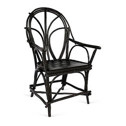 "Genesee River - Penobscot Twig Chair - Black - Handcrafted in Pennsylvania this steambent hickory chair has oak slatted seat. Shown in black with hand aged hickory frame. Chair is reproduction of vintage original found in Maine. Seat height is 17"" from floor. Not for outdoor use, dimensions may vary slightly due to nature of product."