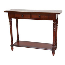 """Oriental Furniture - 29"""" Classic 2 Drawer Foyer Table - Cherry - Sturdy wood foyer table with an extra lower shelf for added stability. Two sliding drawers have round metal pulls. Carved post legs compliment the straight lines of the drawers and shelves, enabling this piece to suit many decor styles. Use as a small server in the dining room, or as a photo or flower display in a living room or office."""