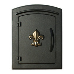 """Qualarc, Inc. - Manchester Mailbox, Fleur De Lis Door, Black - This decorative cast aluminum mailbox insert can be matched with an optional newspaper holder or address plaque. The doors are sealed against the weather and its 22 gauge steel masonry box is electro-galvanized and powder coated to last. Faceplate Dimensions: 11"""" x 14.5"""". Masonry Can Dimensions: 16"""" x 8.5"""" x 12""""."""