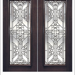 Exterior and Interior Beveled Glass Doors Model # 820 - Our Beveled Glass Doors are made of individually hand cut glass put together with metal caming.  Doors triple glazed (three pieces of glass) for insulation and they are easy to clean with a smooth surface.  Doors are available in a variety of sizes and styles. The door is constructed from FSC Brazilian Mahogany.  Interior versions of these doors are available in our Decorative Glass Doors under the interior doors category.