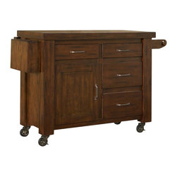 Home Styles - Home Styles Cabin Creek Kitchen Cart with Breakfast Bar in Distressed Chestnut - Home Styles - Kitchen Carts - 541095 - Our Cabin Creek collection conveys a reclaimed wood vintage feel.  Each piece is heavily distressed by hand providing a unique one of a kind look.