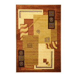 Ottomanson - Brown Contemporary Abstract Design Rug - Get your groove on with this exciting brown contemporary abstract area rug. Stain resistant, it's easy to clean and perfect for high traffic areas like entryways and hallways.