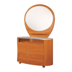Global Furniture - 3 Drawer Single Dresser w Mirror Set in Cherr - Includes 3 drawer dresser and mirror. Made of MDF and paper veneer. Dresser: 47 in. W x 22 in. D x 31 in. H. Mirror: 43 in. W x 39 in. H