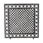 Arteriors - Houston Screen - Our fascination with the charm of antique furnace grates led us to design an iron fire screen that joins two classic motifs together in one geometrically chic fire screen. Finished in antique black. Decorative use only.