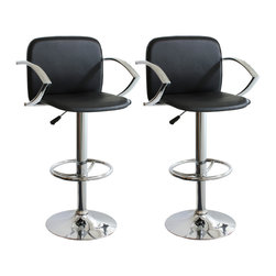 Buffalo Tools - AmeriHome 2 Piece Adjustable Height Bar Stool Set - 2 Piece Adjustable Height Bar Stool Set by AmeriHome This AmeriHome 2 Piece Adjustable Height Bar Stool Set includes two retro style, adjustable height black vinyl bar stools. This 2-piece bar stool set is reminiscent of the days of diners and drive-ins, and features a polished chrome base and a black vinyl seat and back for a hint of vintage retro style.  Designed for maximum comfort, each bar stool features a large 16.5 by 18 inch, padded, 360 degree swivel seat, a 12 inch padded vinyl backrest, a built in footrest and an adjustable seat height of 23.5 to 31.5 inches, which makes this set comfortable for kids and adults to sit together.  Includes 2 retro style, adjustable height black vinyl bar stools Adjustable seat height from 23.5 to 31.5 in. Maximum seat back height 43 in. 16.5 by 18 in. vinyl padded 360-degree swivel seat 330 lbs. weight capacity each