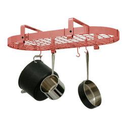"""Enclume - Premier Low Ceiling Oval Pot Rack W/Grid, Copper - Dimensions: 37""""L x 20.5""""W x 8.5""""H"""