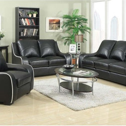 Coaster Stylish Black Sofa Couch Loveseat Arm Chair Pillow Back Living - Stylish and comfortable, our Myles collection offers a contemporary look featuring contrast white stitching that lines the edges of each piece. With durable bonded leather seating. this sofa set in black is sure to make a statement in your living room.