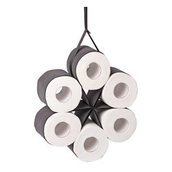 Daisy Roll Holder - Yet another way to hide those unsightly toilet paper rolls! This makes quite a statement: We have toilet paper, and we're not afraid to hang it up.