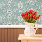 Serenity Damask Wall Stencil - Serenity Damask Wall Stencil from Royal Design Studio Stencils.This hand painted wall stencil looks like fabric upholstered walls. Beautiful in a kitchen, dining room, bedroom or powder room.