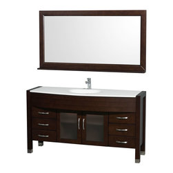 Wyndham - Daytona Single Vanity 60in. in Espresso w/ White Man-Made Stone Top & Sink - The Daytona 60 in.  Single Bathroom Vanity Set - a modern classic with elegant, contemporary lines. This beautiful centerpiece, made in solid, eco-friendly zero emissions wood, comes complete with mirror and choice of counter for any decor. From fully extending drawer glides and soft-close doors to the 3/4 in.  glass or marble counter, quality comes first, like all Wyndham Collection products. Doors are made with fully framed glass inserts, and back paneling is standard. Available in gorgeous contemporary Cherry or rich, warm Espresso (a true Espresso that's not almost black to cover inferior wood imperfections). Transform your bathroom into a talking point with this Wyndham Collection original design, only available in limited numbers. All counters are pre-drilled for single-hole faucets, but stone counters may have additional holes drilled on-site.