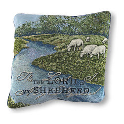 Manual - Woven Tapestry The Lord is My Shepherd Throw Pillow 17 In. - This scenic woven tapestry pillow depicts innocent sheep grazing in a field, affirming Psalm 23, 'The Lord is My Shepherd.' The front is made of a cotton/polyester blend, the backing is cotton, and the soft stuffing is polyester. The pillow measures 17 inches by 17 inches, and care instructions are to spot clean, only. It adds an inspirational accent to any room, and it makes a lovely gift for friends and family. Made in the U.S.A.