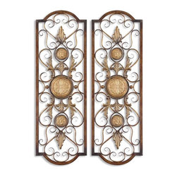 Uttermost - Uttermost Micayla Panels Wall Art (Set of 2) - Uttermost Micayla Panels is a Part of Grace Feyock Designs Collection by Uttermost This decorative wall art is made of hand forged and hand embossed metal. The finish is distressed, chestnut with burnished edges and antiqued gold details. Companion piece is item #13476. Metal Wall Art (2)