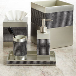 "Kassatex - Kassatex Parc East Tray - Vanity accessories in shades of gray offer an urban, sophisticated look for the bath. From Trump Home. Imported. Made of lacquered resin in a subtle gray hue. Tumbler, 2.75""Dia. x 4.5""T. Pump dispenser, 2.5""Dia. x 8""T. Tray, 9.75""L x 5.5""W x 1""T. T..."