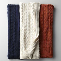 Horchow - Cable-Knit Cotton Throw - Reminding us of our favorite sweater, this throw not only adds a nice touch of color to sofa, chair, or bed; it also adds snuggle-worthy coziness. Consider adding it to the guest room to make visitors feel especially welcome. Cable-knit cotton. Availa...