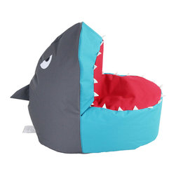HRH Designs - Beanbag Shark, Gray, Turquoise & Red - Kids beanbag shark, cover made in China and filled in USA. Clean with warm water and soap.