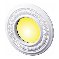 The Renovators Supply - Spot Light Trim White Urethane Recess Light Trim 4 ID x 8 OD | 15449 - Recessed Lighting Trim: Made of virtually indestructible high-density urethane our spotlight rings are cast from steel molds guaranteeing the highest quality on the market. High-precision steel molds provide a higher quality pattern consistency, design clarity and overall strength and durability. Lightweight they are easily installed with no special skills. Unlike plaster or wood urethane is resistant to cracking, warping or peeling.  Factory-primed our spotlight rings are ready for finishing and enhance any ceiling light fixture. 8 inch diameter