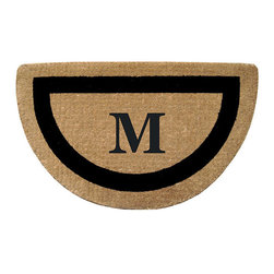 """Frontgate - Classic Border Half-round Monogrammed Mat - A - Stenciled in fade-resistant dyes. Constructed of 100% coir fibers. Protects your floors from mud, sand, water, and dirt. 1-1/2"""" thick. View complete care instructions. Framed in a sophisticated, bold border, our Classic Border Half-round Monogrammed Mat graces an entryway. Constructed of 100% durable coir fibers, this handsome mat is stenciled in fade-resistant dyes for long-lasting luxury.  .  .  . .  . Please note: Personalized items are nonreturnable."""