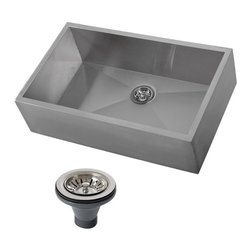 Ticor - Ticor 4403BG-DEL 33-inch 16-gauge Single Bowl Stainless Steel Undermount Farmhou - This stylish single bowl sink features a stainless steel construction,with a lovely brushed finish. The heavy duty sound guard Coating and rubber padding create a large amount of noise reduction.