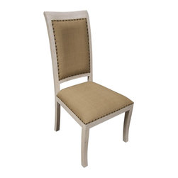 Noir - Noir - Henry Side Chair, White Wash - White Washed Mahogany Wood, with Olive Cotton