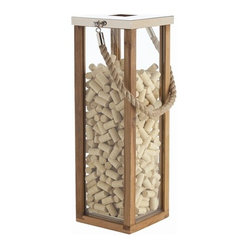 "Arteriors - Tate Lantern, Large - Bring a touch of ""ahoy!"" to your home with this nautical lantern, which holds a pillar candle. An unusual mix of materials — steel, wood, glass, rope, even cork — combine craftily."