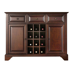 Crosley Furniture - LaFayette Buffet Server / Sideboard w Wine St - Beautiful Raised Panel Doors. Antique Brass Finish Hardware. Removable Wine Storage Panels Reveal Additional Open Storage. Adjustable Shelf Behind Each Door and in Center Section. Adjustable Levelers in Legs. Three Deep Drawers with Raised Panel Fronts. Solid Hardwood & Veneer Construction. 36in. H x 47.75in. W x 18in. D (128 lbs)Constructed of solid hardwood and wood veneers, this Buffet Server / Sideboard Cabinet is designed for longevity. The beautiful raised panel doors & drawers, provide the ultimate in style to dress up your home. The three deep drawers provide an abundance of storage space. Behind the two doors, you will find adjustable shelves and storage space for things that you prefer to be out of sight. The center storage area is great for up to 12 bottles of wine, or if you prefer, remove the wine storage cubes to reveal an adjustable shelf. Style, function, and quality make this Buffet Server a wise addition to your home.