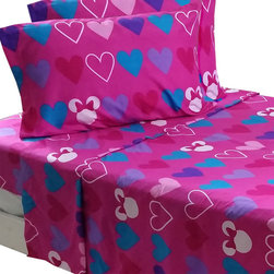 Jay Franco and Sons - Disney Minnie Mouse Full Sheet Set Hearts Bow-Tique Bedding - Features: