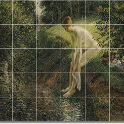 Picture-Tiles, LLC - Bather In The Woods 1895 Tile Mural By Camille Pissarro - * MURAL SIZE: 60x72 inch tile mural using (30) 12x12 ceramic tiles-satin finish.