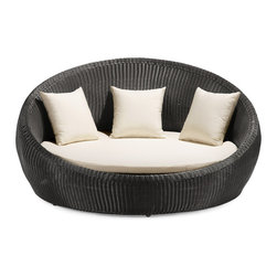 Zuo Modern - Zuo Modern Anjuna Espresso Bed - Soak Up Some Sun. Nesting isn't only for the birds... now you can cuddle up with your entire flock in the Zuo Modern Anjuna Espresso Bed. With a large, round frame constructed from epoxy-coated aluminum and a UV-resistant polypropylene weave, you can rest at ease knowing this outdoor piece will last for a long time. The moisture-resistant cushion and pillows are soft and washable for easy maintenance and total comfort. This Anjuna Bed is the ultimate in style and comfort. Now that's something to tweet about. UV resistantWater-resistant cushionsShips in 2-3 days