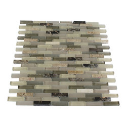 "Nexus Toasted Almond Mini Brick - Nexus Toasted Almond Mini Brick Glass + Stone Tile The glass and stone combination creates a beautifully multidimensional effect. It is great to install in kitchen back splashes, and any decorated spot in your home. The mesh backing not only simplifies installation, it also allows the tiles to be separated which adds to their design flexibility. Chip Size: 3/8"" x 1 5/8"" Color: Beige, Olive and Nude Material: Glass, Dark and Light Emperidor Finish: Polished and Frosted Sold by the Sheet - each sheet measures 10""x11 1/2""(0.8 sq. ft.) Thickness: 8mm"
