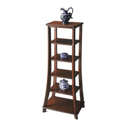 None - Plantation Cherry Etagere Shelf - This statuesque etagere is the perfect canvas for displaying your cherished photos,favorite artifacts,books and more. Crafted from poplar hardwood solids and wood products,this unit features four adjustable shelves in a plantation cherry finish.