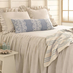 Savannah Linen Chambray Bedding - This Southern-inspired linen bedding feels light and perfect for hot summer nights or hot flashes — and no, I'm not talking about the camera.