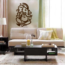 Modern Ganesha vinyl wall decal - Get this beautiful look without the mess of paint and stencils! Available in different colors.