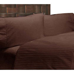 SCALA - 400TC 100% Egyptian Cotton Stripe Chocolate King Size Flat Sheet + 2 Pillowcases - Redefine your everyday elegance with these luxuriously super soft Flat Sheet. This is 100% Egyptian Cotton Superior quality Flat Sheet that are truly worthy of a classy and elegant look.  includes: King Size Flat Sheet 1 Flat Sheet 108 Inch (length) X 102 Inch (width).2 Pillowcase 20 Inch (length) X 40 Inch (width).