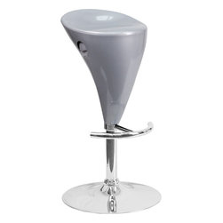 Flash Furniture - Flash Furniture Contemporary Silver Plastic Adjustable Height Bar Stool - This retro stool is shaped for comfort and style. The seat is joined with chrome finish base and round footrest. This attractive stool will accent your kitchen, dining, or bar area. The dual purpose design performs as a counter height stool or a bar height stool. The height adjustable swivel seat adjusts from counter to bar height with the recessed handle located below the seat.