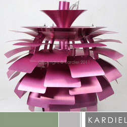 "Kardiel Artichoke Style Lamp - Pink - 23.6"" Diameter - Poul Henningsen's most famous contribution to society is probably the Artichoke Lamp, a spherical, plant-like form. Also known as the PH Lamp, it was created in 1958 and expressed his enthusiasm for ""functionalism"" and the ""natural living"" that he advocated so passionately. Poul's accomplished goal was the creation of the contemporary organic design of the artichoke lamp, functioning to diffuse the harsh elements of the electric interior hanging lamp. The original design was commissioned for use inside the Restaurant ""Langeline Pavalion"" which is located in Copenhagen. If you are in Copenhagen and visit the Restaurant, they are still hanging to this day. Another gorgeous case of form meets function. Modern and classic simultaneously, there's no decorating scheme that this lamp won't illuminate. This Contemporary Chandelier is a highly detailed, hand-crafted reproduction of the original Artichoke pendant lamp. The Artichoke Lamp was designed in 1958 by Poul Henningsen who is now recognized as the first ""lighting architect."" True to the original, the 23.62 inches diameter of the lamp consists of 12 arches and 11 rows of leaves. Each row features 6 Hand guided laser cut ""leaves"". The first four rows of leaves progressively increase in dimension size. The remaining 7 rows contain the largest leave size and are consistent. The total 66 lucent like ""leaves"" appear to unfold into the classic ""artichoke"" form, capturing the light from within and softly dispensing it back into the room. Each leaf is offset diffusing the source of the direct light and providing for an indirect glow of light which emanates from the center of the lamp. No other Chandelier pendant lamp design quite duplicates the pleasing indirect. Now you can own your very own version of the Artichoke that is easily recognized worldwide as the Modern Classic Icon in lighting."
