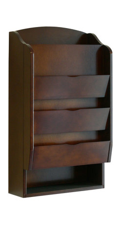 Proman Products - Proman Products Door Entry Organizer with Mail Sorter and Key Holder Compartment - Door entry organizer with mail sorter and key holder compartment. Wood veneer in dark walnut finish