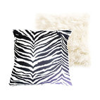 "Tomova Jai Designs - Extreme Luxury Collection: Zebra And Faux Fur, 20""x20"", Crisp White Faux Fur/Zeb - Details:  16x16 inch Crisp white faux fur and zebra patterned fabric Pillow"