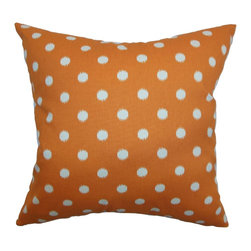 """The Pillow Collection - Rennice Ikat Dots Pillow Gum Drop Orange Natural 18"""" x 18"""" - Striking and fun, this accent pillow adds an interesting element to your space. This throw pillow comes with a classic ikat dot print pattern in natural and set against a gum drop orange background. This square pillow is a perfect highlight for your sofa, bed or sectionals. This 18"""" pillow works well with many decor styles and settings. This decor pillow is crafted from 100% durable and soft cotton fabric. Hidden zipper closure for easy cover removal.  Knife edge finish on all four sides.  Reversible pillow with the same fabric on the back side.  Spot cleaning suggested."""
