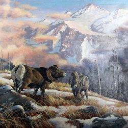 Marcel Bordei, Bighorn Sheep, Oil Painting - Artist:  Marcel Bordei