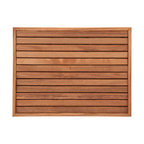 "Teakworks4u - Teak Bath Mat with Narrow Frame (27"" x 20"") - Naturally mold and mildew proof due to its high oil content, this bath mat will serve you in style for years to come. The inherent beauty of teak is sure to complement your bathroom accessories and create a perfect decorative accent. Naturally high silica content makes this piece incredibly slip resistant. Crafted with quality wood, countersunk screws and rubber footing to protect your floors, this teak mat is nothing short of an investment. Proudly made in the U.S.A."