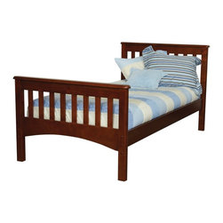 Bolton Furniture - Bolton Mission Twin Bed - Chestnut - 9921700 - Shop for Beds from Hayneedle.com! The classic mission style of this Bolton Mission Twin Bed - Chestnut give it timeless appeal. Its beautifully-crafted of hardwood solids and veneers and finished in warm chestnut. The slat style headboard and footboard give it a timeless mission feel.About BoltonBolton Furniture is proud to offer consumers quality wood pieces at affordable prices since the early 1900s. Located in Vermont Bolton selects its lumber locally. Each piece is carefully crafted from the beginning stages of kiln drying to the packaging of the finished product. Having specialized in the detailed wood-craftsmanship of musical instruments Bolton Furniture perfected woodworking in the 1970s. This means that their furniture pieces are created with extreme attention to detail and superior precision. Bolton Furniture's reputation is built on its products - durable lasting and beautiful.