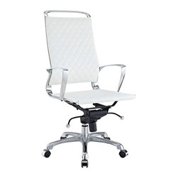 Modway Furniture - Modway Vibe EEI-232-WHI Office Chair in White - EEI-232-WHI Office Chair in White belongs to Vibe Collection by Modway Instill some panache to your office with a chair that says it all. Vibe's modern style reverberates from start to finish. From its diamond patterned leather seat and back, to its high polished chrome frame, if ever there was a chair that turned seating into an artform it would be Vibe. Conveniently adjust your seating position with an easy to use seat tilt lever.The five-star hooded chrome base comes fitted with casters appropriate for any floor. Vibe is also height adjustable with its powerful pneumatic lift. The upward angle of the arms both adds to the distinguished nature of the piece, and helps you properly position your wrists for typing. The chair also comes fully equipped with a tension knob that allows you to personalize the back tilt to fit your particular build and posture. Vibe works just as well in smaller spaces as it does in spacious conference rooms. If you're looking for a modern chair with a bit of vivacity to it, then you've found your match. Set Includes: One - Vibe Modern Leather Highback Office Chair Office Chair (1)