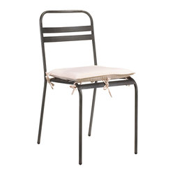 Kathy Kuo Home - Catteau Iron Dining Chair - A marriage of French Country form and Industrial material, this simple side chair seats your guests in style. Crafted from wrought iron, this chair provides sturdy support with a slim silhouette. The slatted back offers casual comfort for hours of enjoyment.