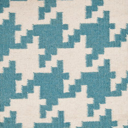 "Surya - Frontier Teal/Ivory Rug - Features: -Technique: Flat Woven.-Material: Wool.-Origin: India.-Construction: Handmade.-Collection: Frontier.-Distressed: No.-Collection: Frontier.Dimensions: -Pile height: 0.16"".-Overall Product Weight: 3 lbs."