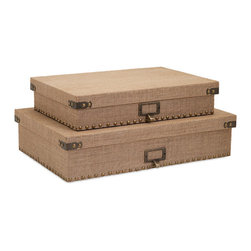 iMax - Corbin Document Boxes, Set of 2 - A pair of burlap covered Document boxes is studded with metal nail heads and accents for an industrial look with natural masculine style