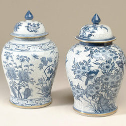 Maitland Smith Hand-Painted Blue and White Crackled Porcelain Temple Jars - Temple jars are most often thought of in the classic blue and white pattern. These are sold as a set of two.