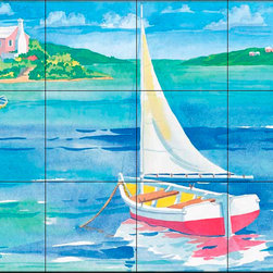 The Tile Mural Store (USA) - Tile Mural - Bermuda Sail - Kitchen Backsplash Ideas - This beautiful artwork by Paul Brent has been digitally reproduced for tiles and depicts a small sailboat.  Tile murals with ships and decorative ship tiles are timeless and are excellent to add to your kitchen backsplash tile project or your tub and shower surround bathroom tile project. Images of ships on tiles and pictures of sailboats on tiles add a unique element to your tiling project and are a great kitchen backsplash idea for a coastal home. Use a decorative tile mural of ships and boats for a wall tile project in any room in your home where you want to add interest to a plain field of wall tile. Bathrooms always look best with the addition of decorative wall tiles so why not add a tile mural with the image of a ship?